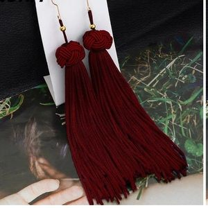 Ann Taylor LOFT Burgundy Tassel Earrings